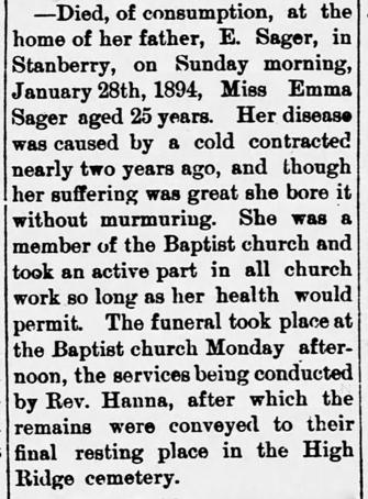 1894 Feb 1 SAGER Emma OBIT Darlington Record Darlington Missouri Pg 1