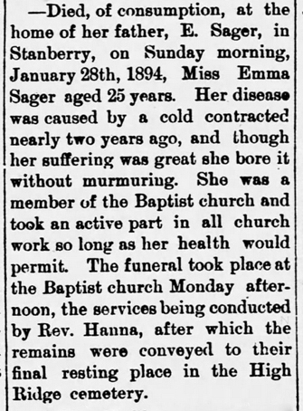 1894 Feb 1 SAGER Emma OBIT Darlington Record Darlington Missouri Pg 1