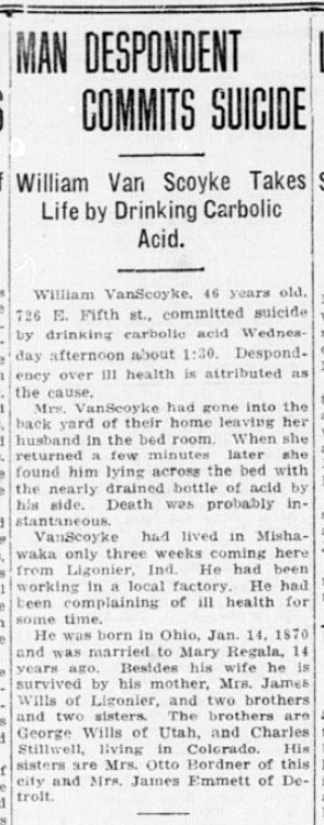 1916 Jun 1 VANSCOYKE Obit South Bend News Times South Bend Indiana