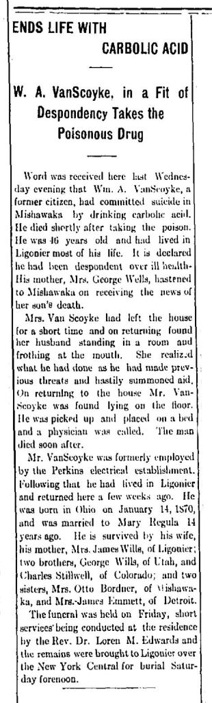WILLS VANSCOYKE William OBIT Ligonier Leader 1916 June 1 Page 7