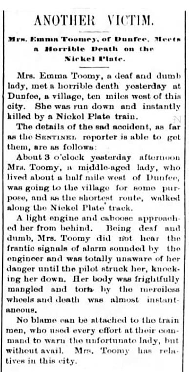 1890 Jan 28 BERGER Emma Death The Fort Wayne Sentinel Pg 1