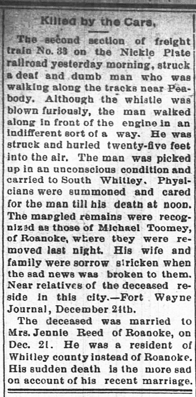 1891 Dec 24 TOOMEY Michael KILLED BY THE CARS The Daily Democrat Huntington Indiana Pg 2