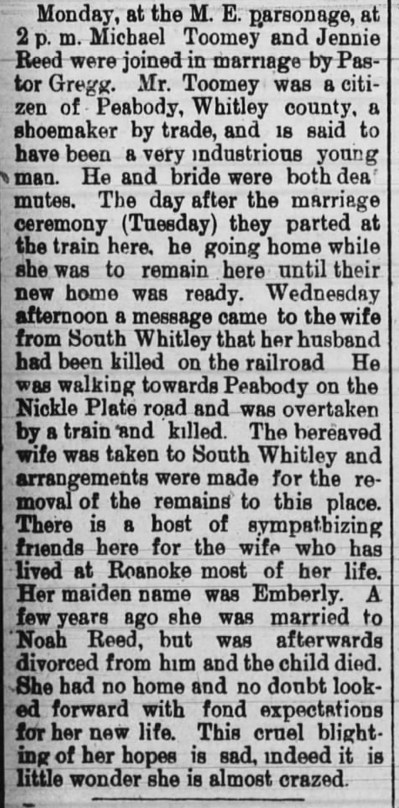1891 Dec 25 TOOMEY Michael DEATH Huntington Weekly Herald Huntington Ind Pg 5