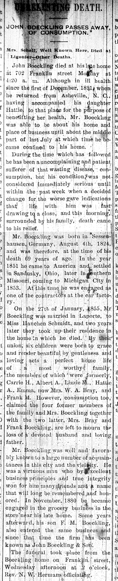 1893 Oct 11 BOECKLING John OBIT Michigan City News