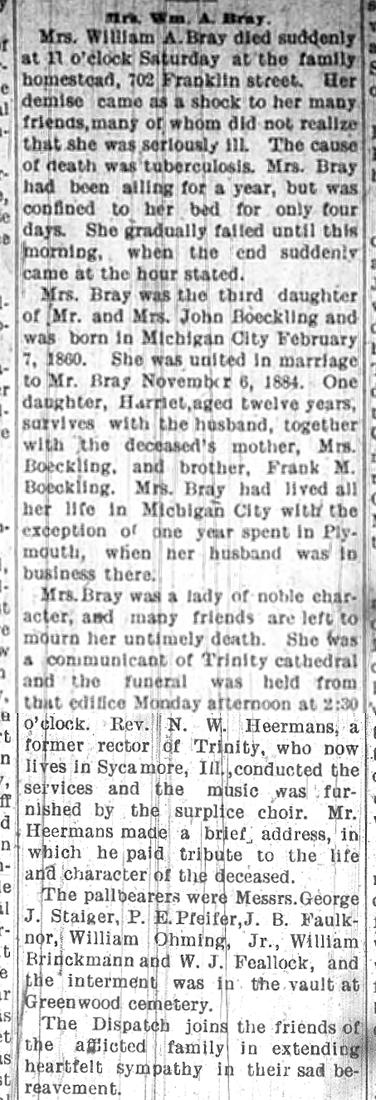 1904 Jan 28 BOECKLING Emma OBIT Michigan City Dispatch