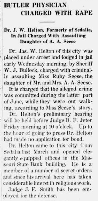 1912 Jul 11 HELTON James RAPE CHARGE The Butler Weekly Times Butler MO