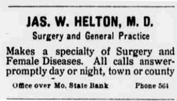 1912 Jun 20 HELTON James SPECIALIZE IN FEMALE DISEASE The Butler Weekly Times