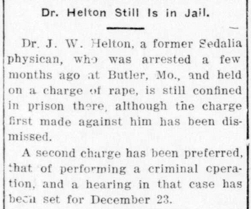 1912 Nov 29 HELTON James RAPE CHARGE The Sedalia Democrat Sedalia Missouri