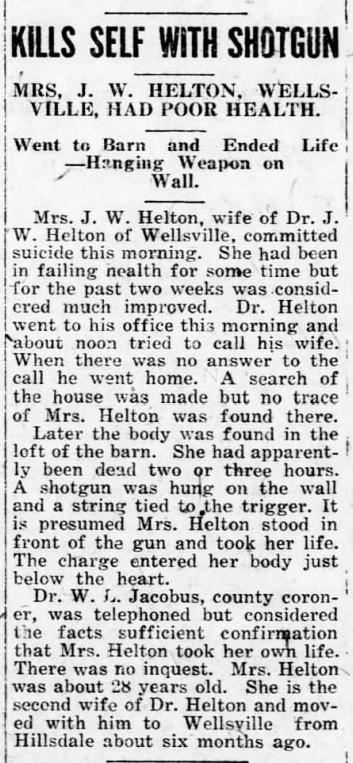 1919 Jun 5 HELTON Mary SUICIDE The Ottawa Herald Ottawa Kansas Pg 1