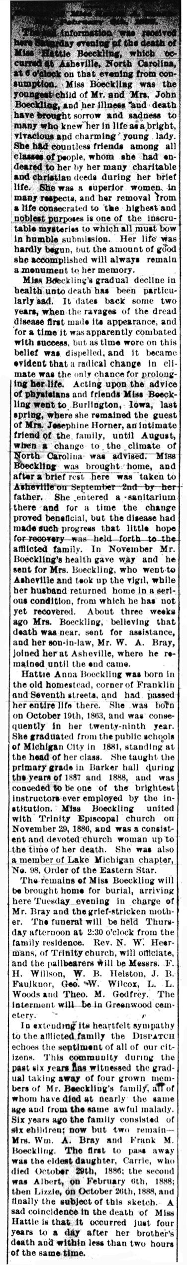 Hattie Boeckling obituary