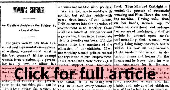 click sm 1908 Jul 17 WOMENS SUFFRAGE Swayzee Press