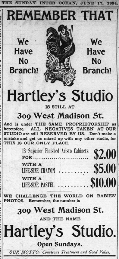 1894 Jun 17 HARTLEY ORIGINAL advert Inter Ocean Chicago