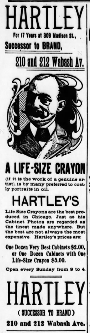 1894 Jun 2 HARTLEY Charles NEW ADVERT Chicago Eagle