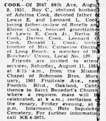 1951 Aug 9 COOK Roy OBIT Oakland Tribune CA