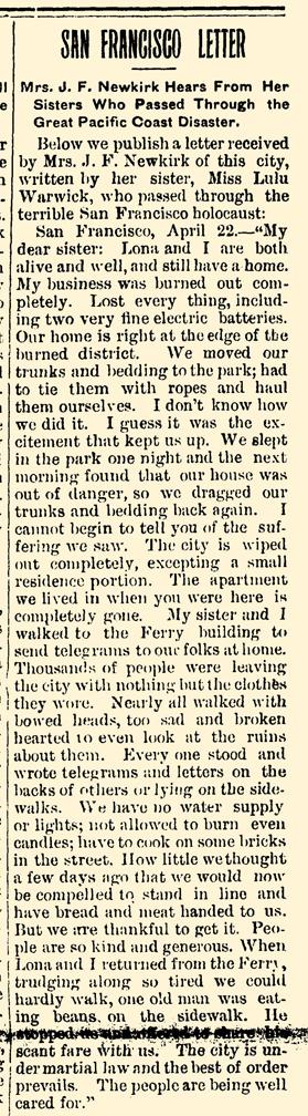 blog 1906 Apr 27 SISTERS IN DISASTER Swayzee Press Swayzee IN