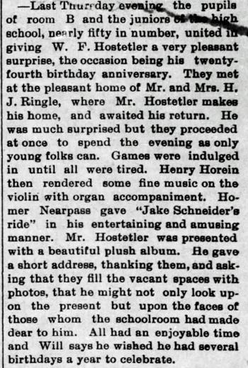 1894 Mar 30 HOSTETLER Will BIRTHDAY SURPRISE PARTY The Bremen Enquirer Bremen IN