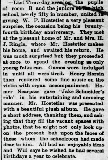 1894 Mar 30 HOSTETLER Will BIRTHDAY SURPRISE PARTY The Bremen Enquirer Bremen IN