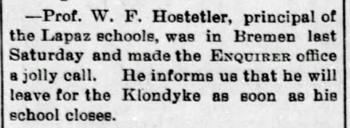 1898 Feb 11 HOSTETLER Will PRINCIPAL LAPAZ The Bremen Enquirer
