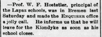 1898 Feb 11 HOSTETLER Will PRINCIPAL LAPAZ The Bremen Enquirer