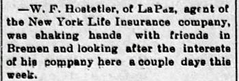 1900 Jun 15 HOSTETLER William LIFE INSURANCE AGENT The Bremen Enquirer