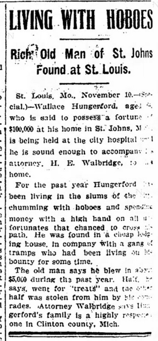 1905 Nov 11 HUNGERFORD Wallace LIVING WITH HOBOES Detroit Free Press Mich