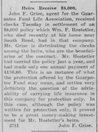 1917 Jul 5 HOSTETLER William INSURANCE The Bremen Enquirer Bremen IN