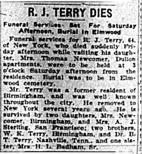 1925 Mar 7 TERRY RJ Obit The Birmingham News Alabama