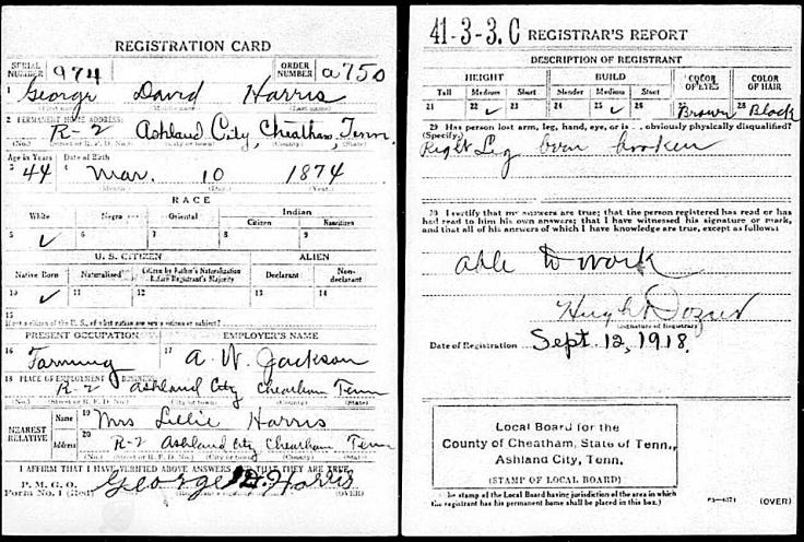 HARRIS George WWI Draft card
