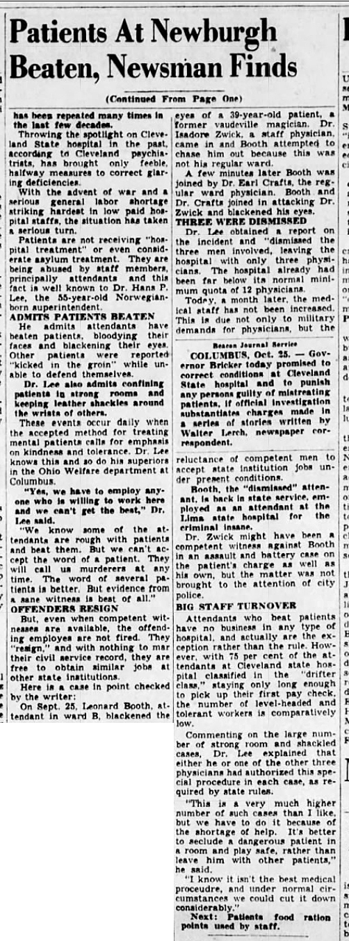 1943 Oct 25 PATIENTS BEATEN pt2 The Akron Beacon Journal Ohio