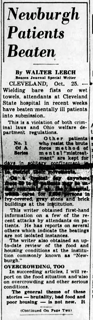 1943 Oct 25 PATIENTS BEATEN The Akron Beacon Journal Ohio