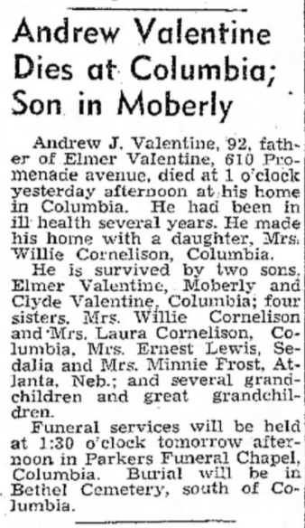 1949 Feb 5 VALENTINE Andrew OBIT Moberly Monitor Index Moberly MO