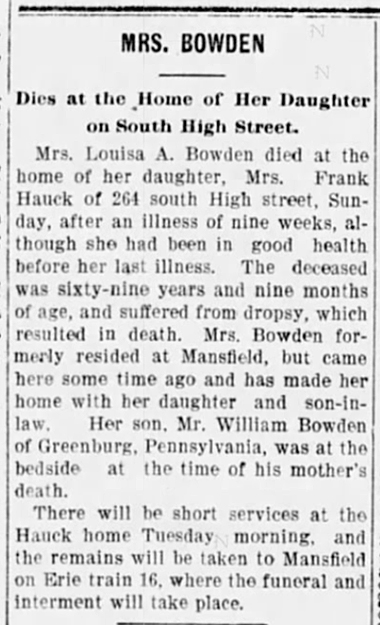 1900 Jul 30 BOWDEN Louisa OBIT The Marion Star Marion Ohio Pg 2