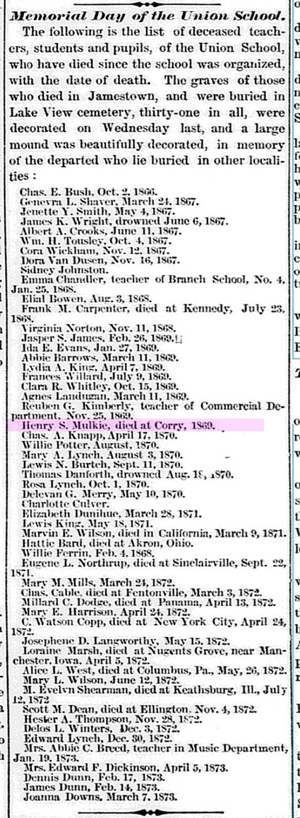 b UNION SCHOOL DEATHS Jamestown Journal NY