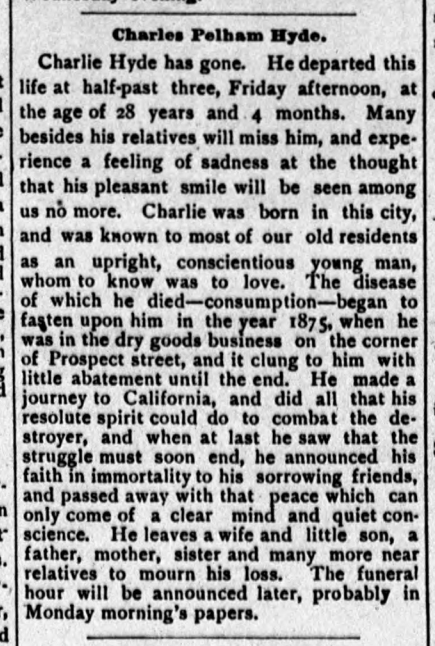 1877 Feb 24 HYDE Charles Pelham OBIT Cambridge Chronicle Mass