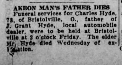 1924 Aug 29 HYDE Charles P OBIT Akron Beacon Akron OH