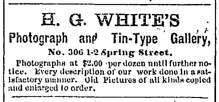 1872 Sep 12 HG WHITE Photograph Gallery Ad THE DAILY MILWAUKEE NEWS WI