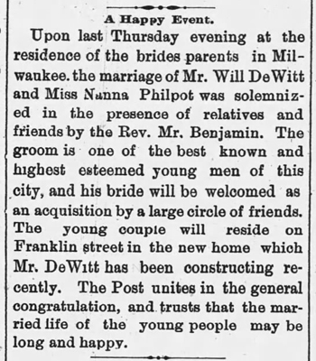1886 May 20 PHILPOT Nana MARRIAGE Appleton Post WI
