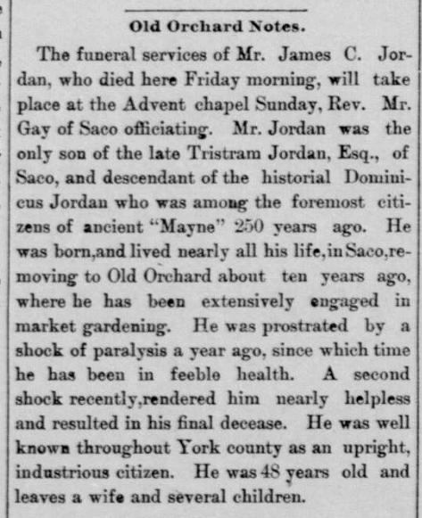 1888 Oct 27 JORDAN James C OBIT Biddeford Daily Journal ME