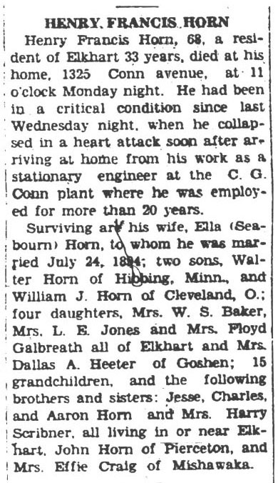 b1936 Mar 10 HORN Frank OBIT Daily News Times and Democrat Goshen IN