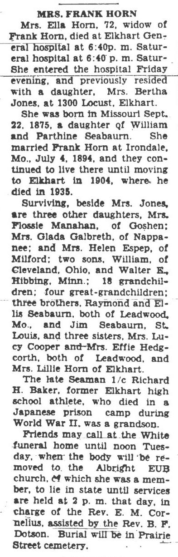 b1948 Aug 23 SEABOURN Ella OBIT The News Democrat Goshen IN