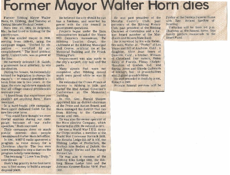 HORN Walter OBIT unknown source