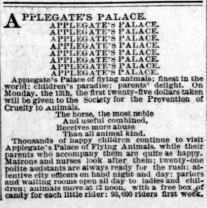 1891 Apr 12 PALACE OF FLYING ANIMALS Philadelphia Inquirer