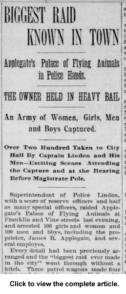 crop 1892 Jan 20 BIGGEST RAID Philadelphia Inquirer Pg 1