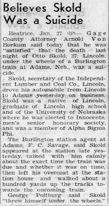 1940 Jan 27 WITNESS to suicide The Columbus Telegram NE Pg2