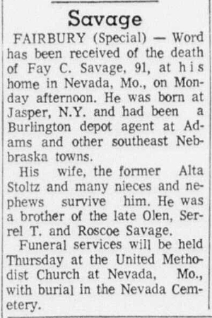 1969 Sep 2 SAVAGE Fay OBIT Beatrice Daily Sun Beatrice NE