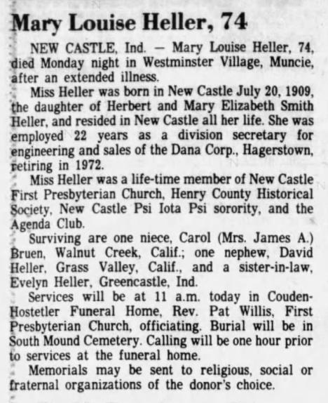 1984 Jun 27 HELLER Mary Louise OBIT The Star Press Muncie IN