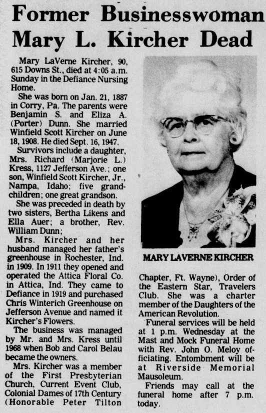 1977 Apr 11 DUNN Vernie OBIT The Crescent News Defiance Ohio
