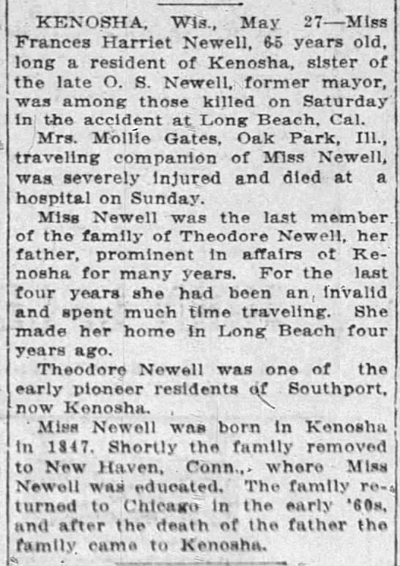 1913 may 27 newell frances death the journal times racine wi
