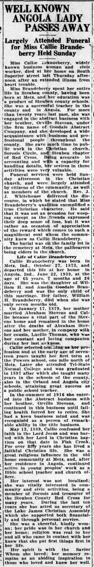 1939 Jun 30 BRANDEBERRY Callie OBIT Angola Herald IN