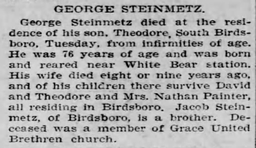1905 Aug 17 STEINMETZ George OBIT Reading Times Reading PA